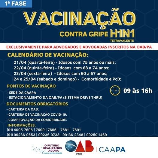 Vacinação H1N1 1 fase
